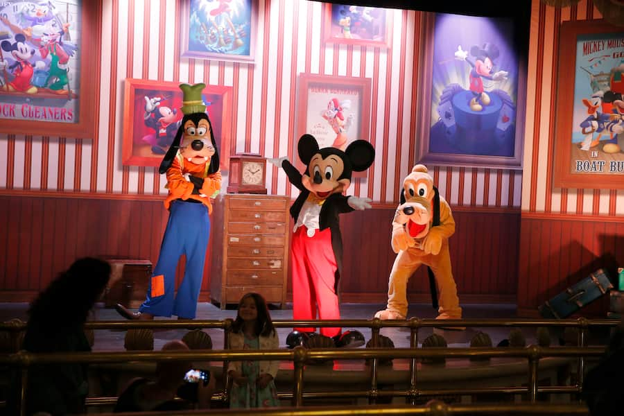 Meet Mickey Mouse character encounter with Mickey, Goofy and Pluto in Disneyland Park Paris