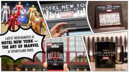 Collage of merchandise from Disney's Hotel New York— The Art of Marvel at Disneyland Paris