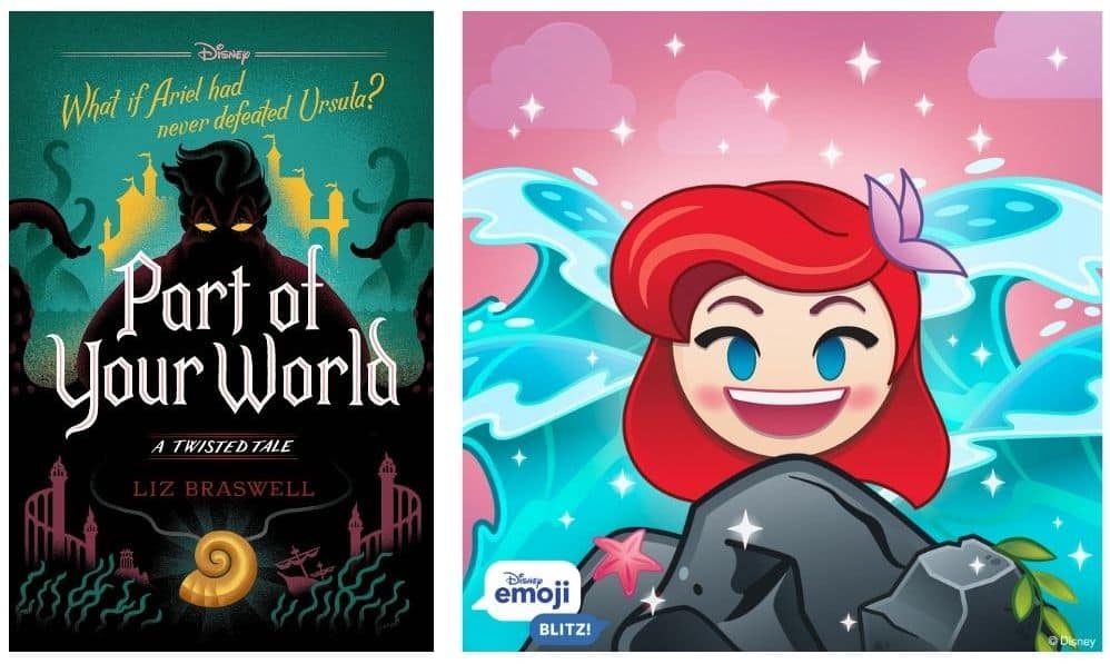 """""""Part of Your World: A Twisted Tale"""" cover art and Ariel Disney Emoji Blitz image"""