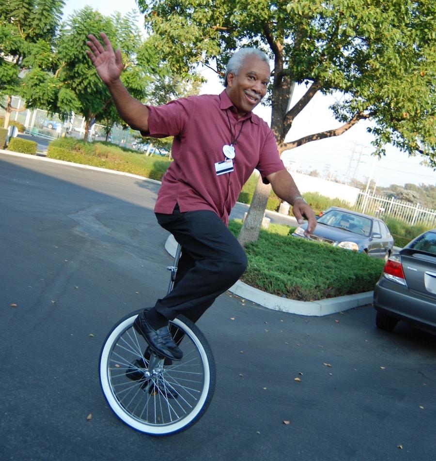 Imagineer Lanny Smoot on a unicycle
