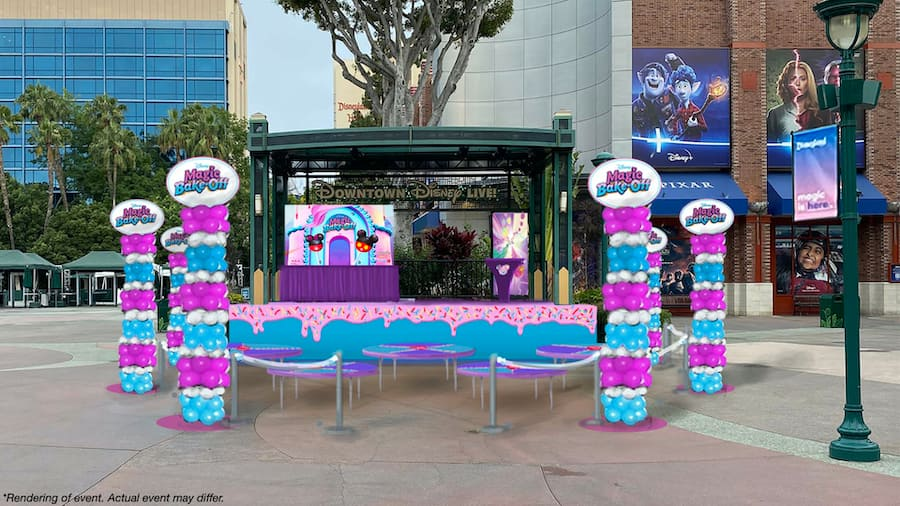 """Rendering of """"Disney's Magic Bake-Off"""" all-new experience at the Downtown Disney District stage from August 20-22, 2021"""