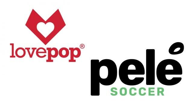 Lovepop and Pelé Soccer logos