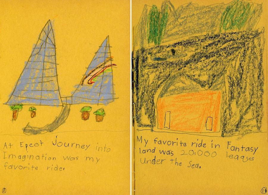 Drawings by Disney Parks Blog author Steven Miller after his first visit to Walt Disney World Resort