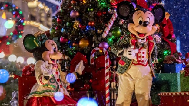 """Disney Very Merriest After Hours at Magic Kingdom - Mickey Mouse and Minnie Mouse in """"Once Upon a Christmastime Parade"""""""