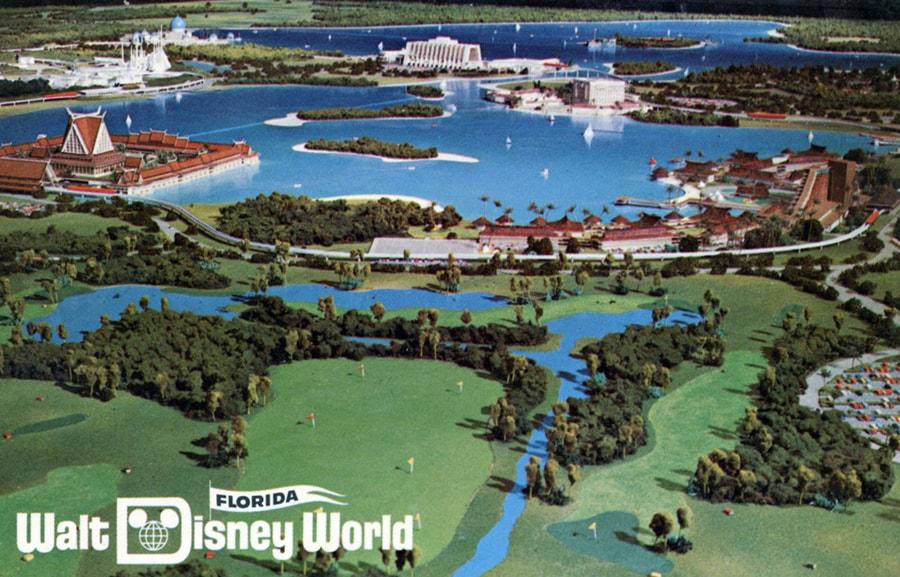 Vintage postcard image of Walt Disney World model