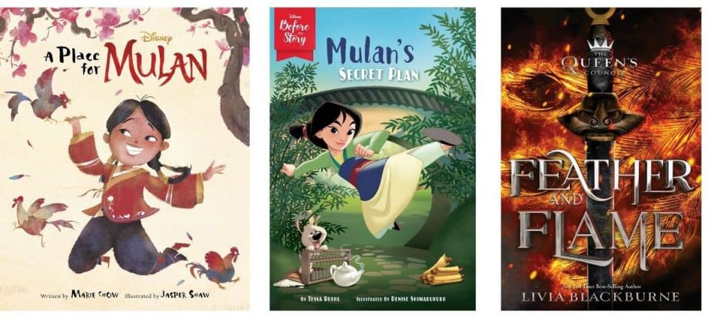 """""""A Place for Mulan,"""" """"Mulan's Secret Plan"""" and """"The Queen's Council: Feather and Flame"""" book covers"""