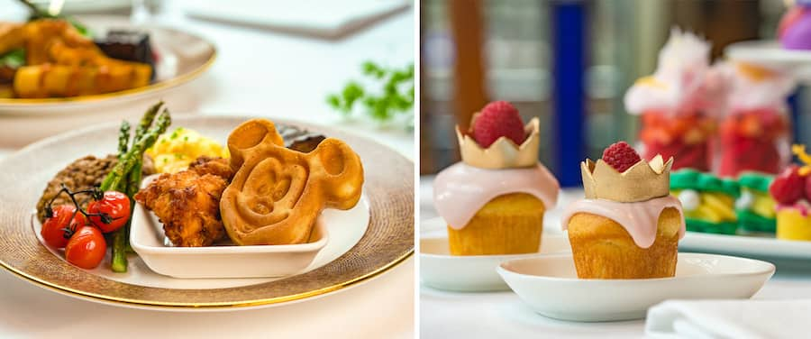 Collage of dining offerings from Disney Princess Breakfast Adventures at Napa Rose