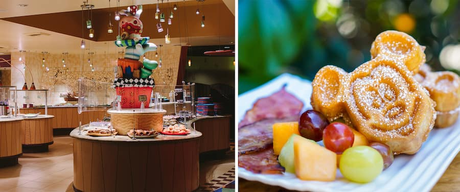 Collage of food offerings from Goofy's Kitchen