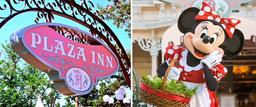 Collage of Minnie & Friends – Breakfast in the Park at the Plaza Inn