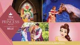 Graphic of Belle-inspired experiences at Disney parks