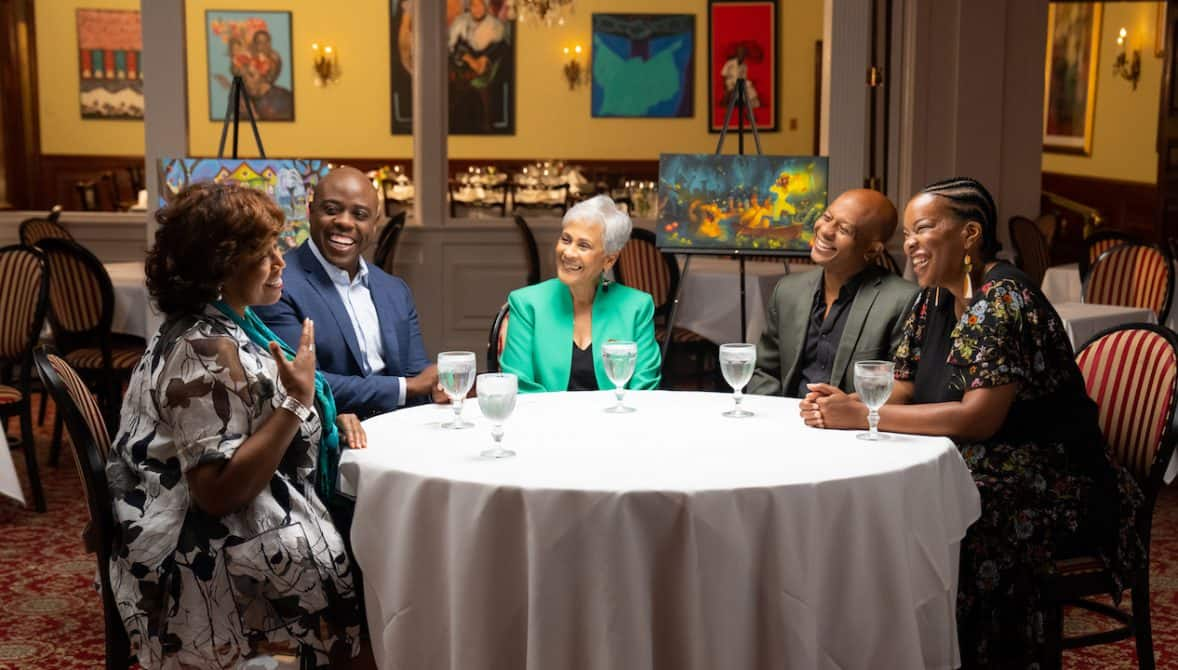 Kenneth Moton, Stella Chase Reese, Carmen Smith, Charita Carter and Marlon West at Dooky Chase's Restaurant in New Orleans