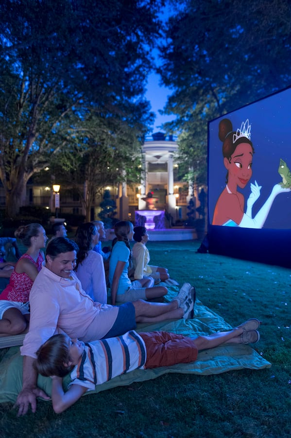 Guests watching a Movie Under the Stars at Walt Disney World Resort