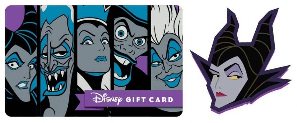 Villains Disney Gift Card and Maleficent pin