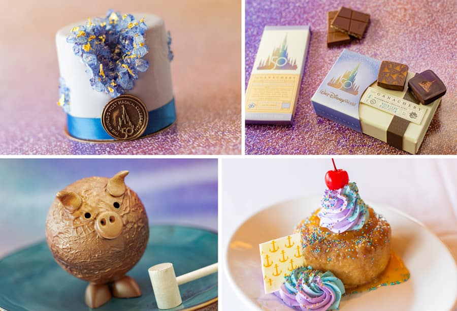 50th Celebration Petit Cake, 50th Celebration Chocolate Bundle, Chocolate Pigñata, and Sweet Nostalgia Pineapple Upside-Down Cake