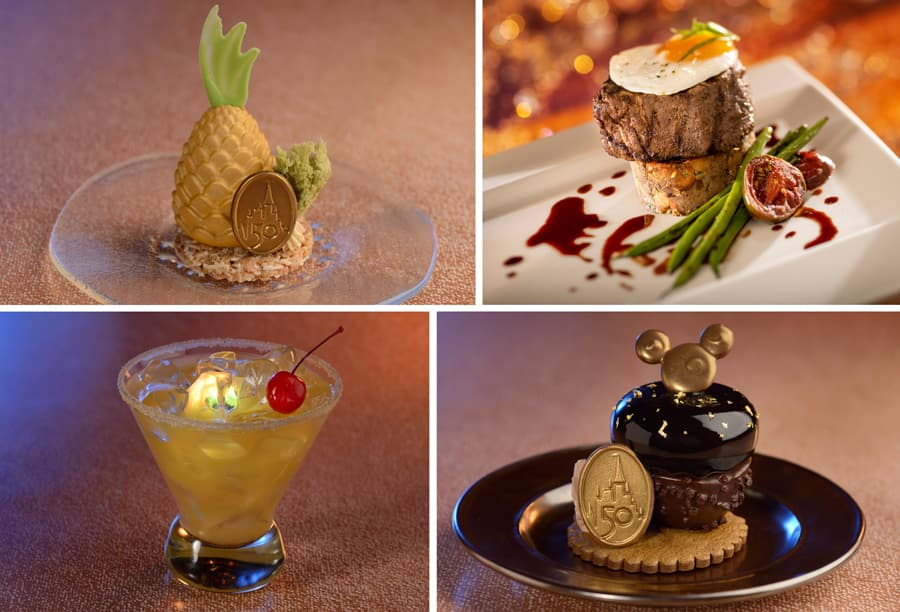 Glimmer and Shimmer Pineapple Mousse, Filet Mignon with Walt's Hash topped with an egg, Shimmer over the Moon, and Chocolate Mousse