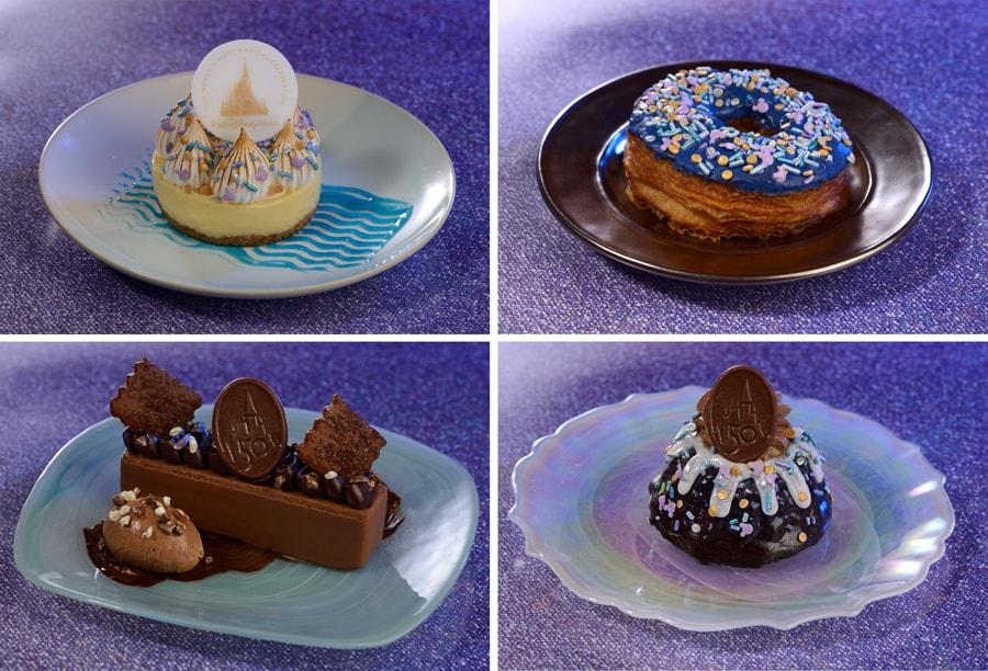 Key Lime Tart, EARidescent Croissant Doughnut, Chocolate Mousse Bar, and Mini Chocolate Bundt Cake