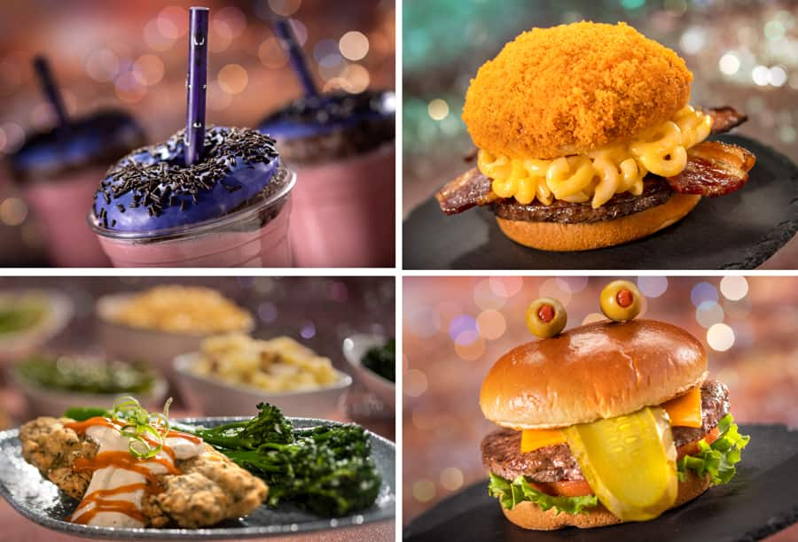 Happy Haunts Milkshake, Mission to Mars burger, a plate from the Crystal Palace, and The Toad Burger