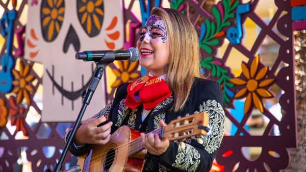 Mariachi Divas at Paradise Garden's colorful bandstand