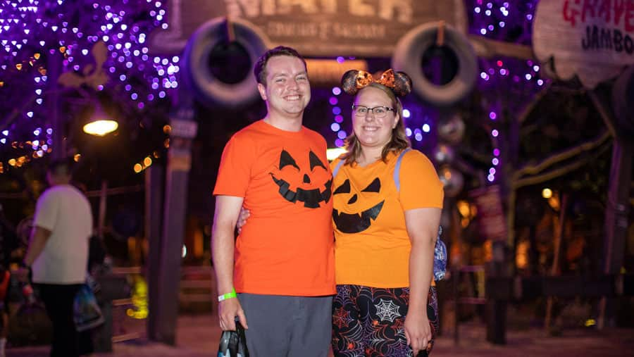 Tomorrowland Attractions cast members Jenna Withers and Colton Tracey enjoy the spooky offerings at the Oogie Boogie Bash Cast Preview.