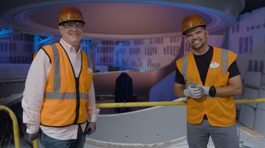 Imagineers Tom Fitzgerald (left) and Scot Drake (right) inside the Wonders of Xandar pavilion currently under construction at EPCOT