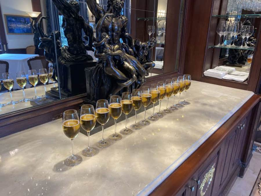 13 champagne flutes for fallen soldiers