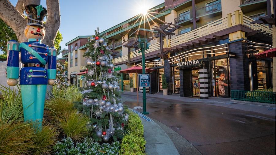 Holiday decor at Downtown Disney