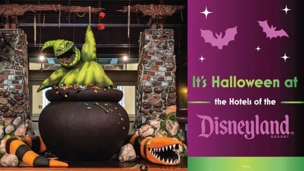 Graphic showing Halloween Time at the Hotels of Disneyland Resort