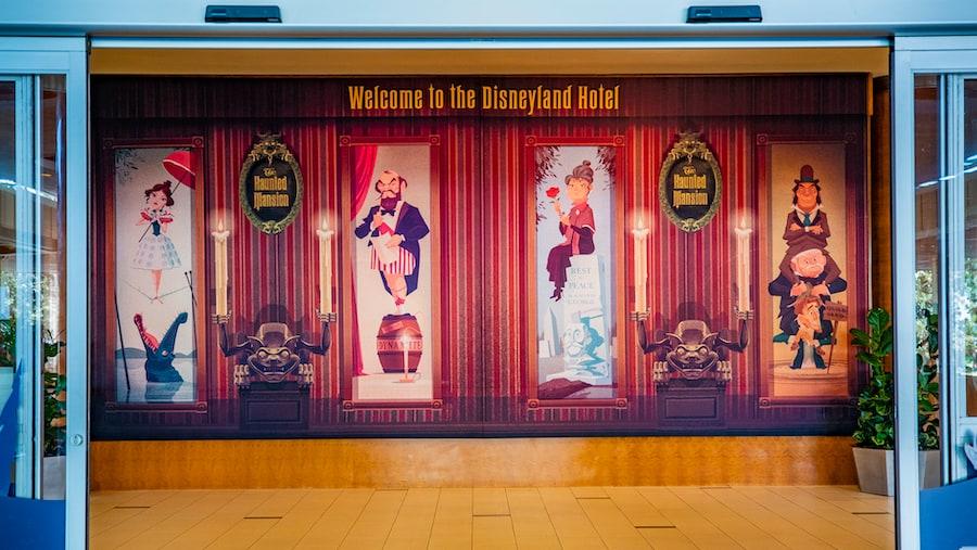 Haunted Mansion-inspired decor at the Disneyland Hotel