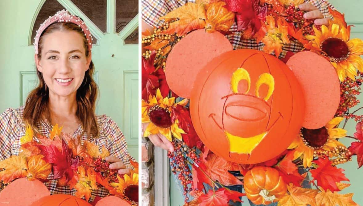 Mallory of mallory.erin.makes shares how to create your own classic Mickey Pumpkin Wreath