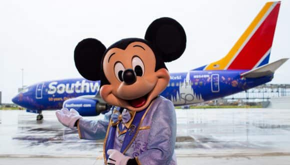 Mickey Mouse with new EARidescent Southwest Airlines Aircraft