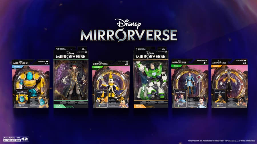 Disney Mirrorverse McFarlane Toys Figures Revealed Mickey Mouse, Goofy, Buzz Lightyear, Belle, Jack Sparrow, and Sully in retail packaging