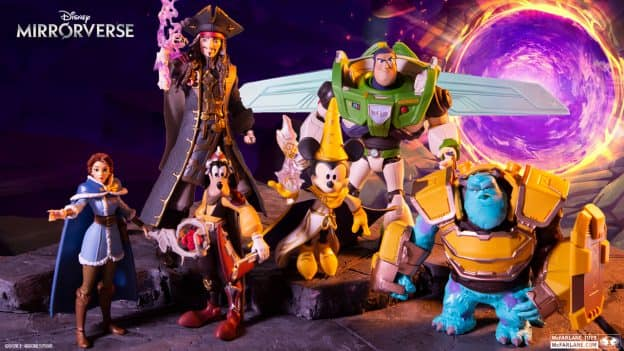 Disney Mirrorverse McFarlane Toys Figures Revealed Mickey Mouse, Goofy, Buzz Lightyear, Belle, Jack Sparrow, and Sully. More at Mcfarlane.com
