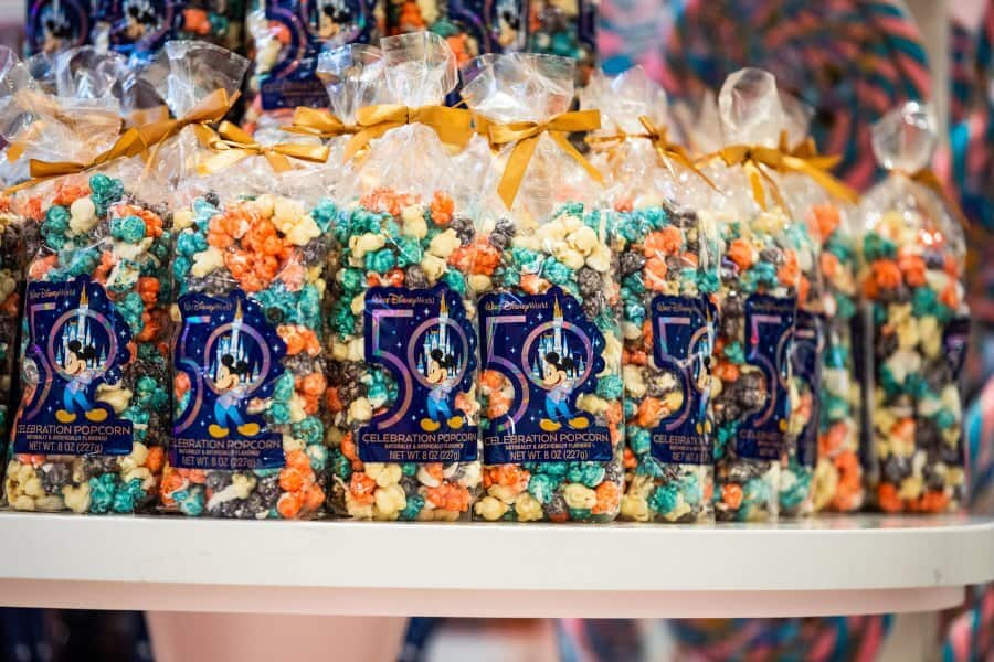 50th celebration of colored popcorn on the main street confectionery shelf