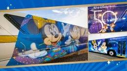 Walt Disney World transportation featuring 50th Anniversary artwork