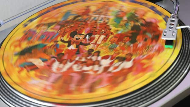 Disney album on a record player