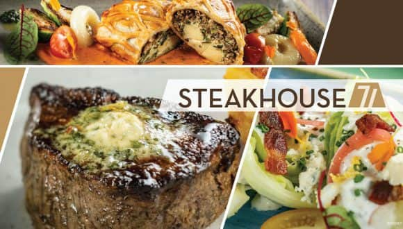 Collage of offerings from for Steakhouse 71, Opening Soon at Disney's Contemporary Resort