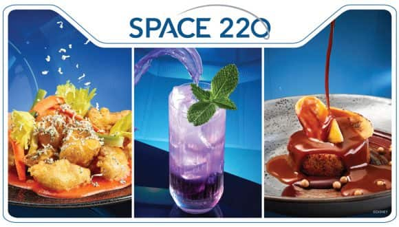 Space 220 at EPCOT - Menu Items: Blue Moon Cauliflower, Lightyear Lemonade and Sticky Toffee Pudding Cake
