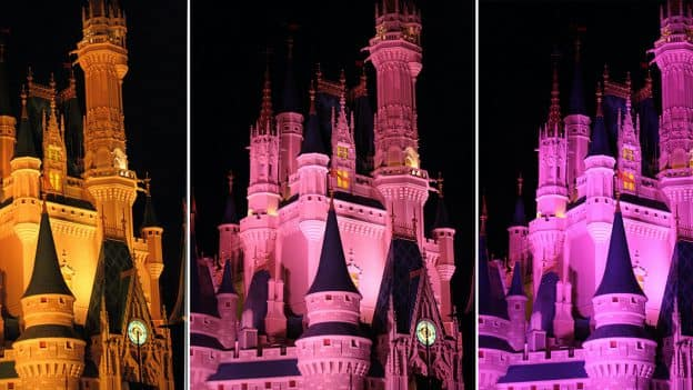 Collage of Cinderella Castle at night