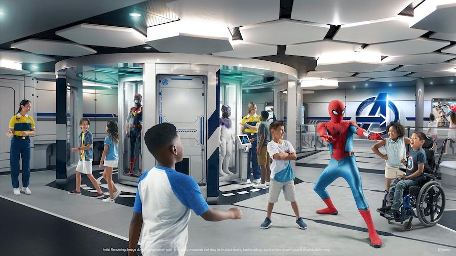 Rendering of Marvel Super Hero Academy coming to the Disney Wish