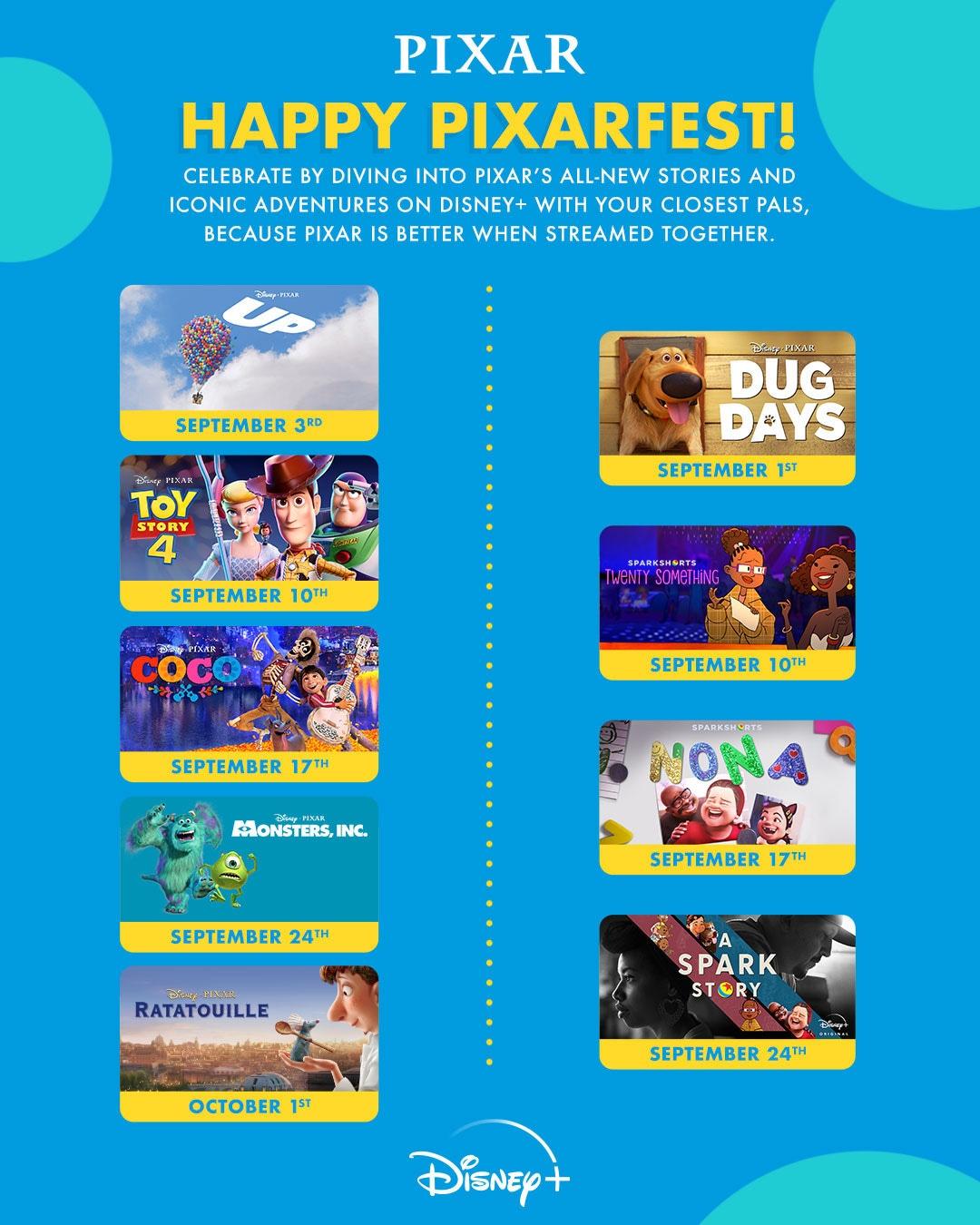 Graphic is the 2021 Pixar Fest film festival schedule