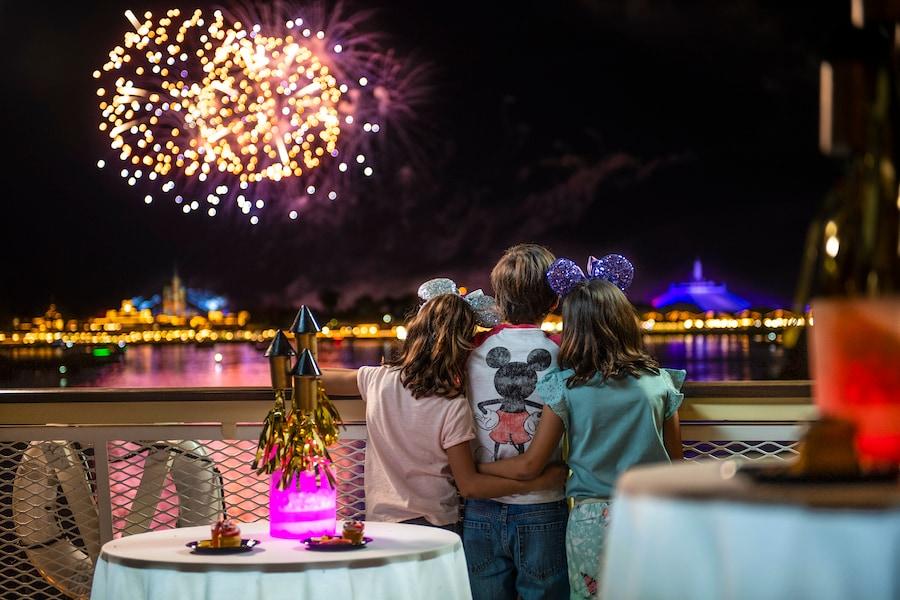 Kids watching the fireworks at Magic Kingdom Park