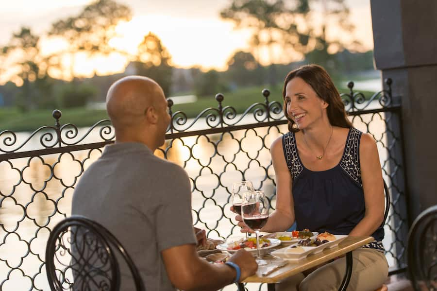 Couple eating at Spice Road Table at EPCOT