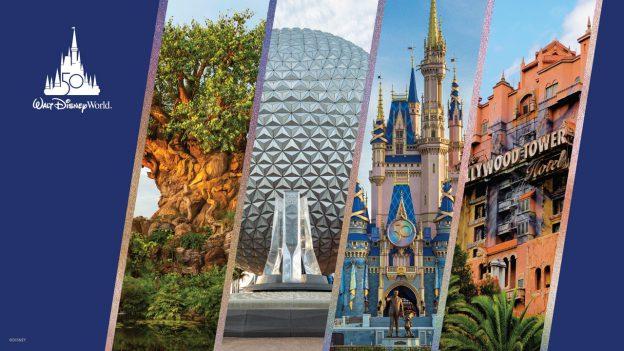 Walt Disney World Resort 50th Anniversary - Tree of Life at Disney's Animal Kingdom, Spaceship Earth at EPCOT, Cinderella Castle at Magic Kingdom Park and Tower of Terror at Disney's Hollywood Studios