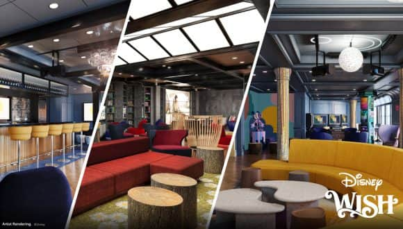 Collage of new tween spaces coming to the Disney Wish