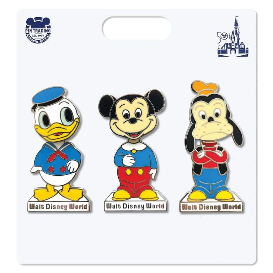 New pin set featuring Donald Duck, Mickey Mouse and Goofy