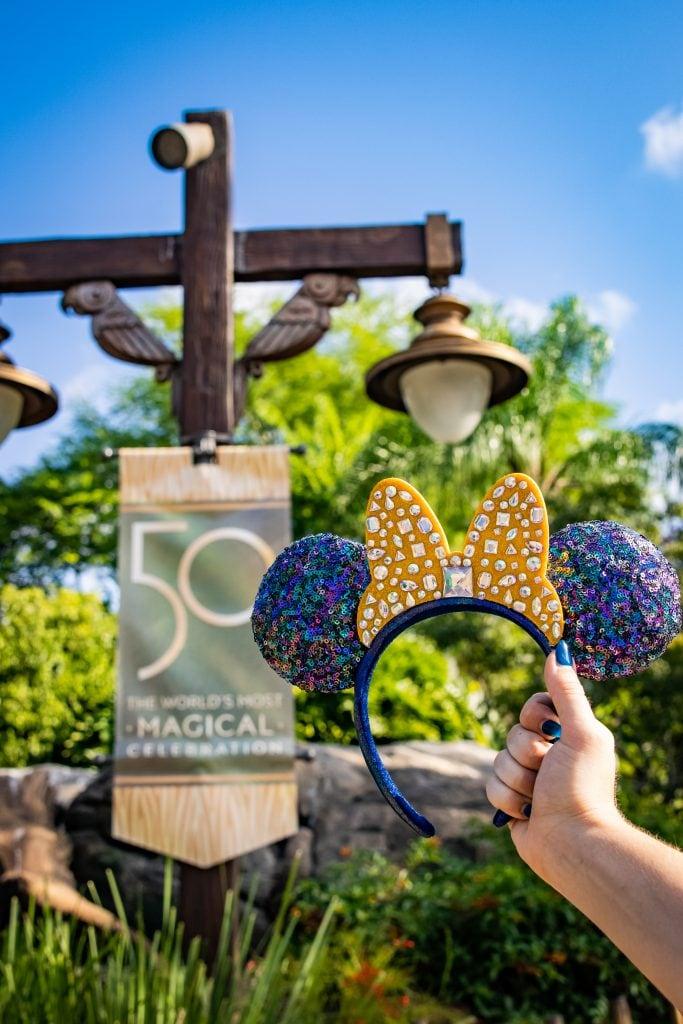 50th Celebration Minnie Mouse ears at Disney's Animal Kingdom