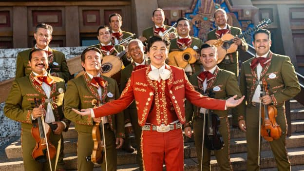 """Anthony González, voice of Miguel in Disney and Pixar's """"Coco,"""" with Mariachi Cobre at EPCOT"""