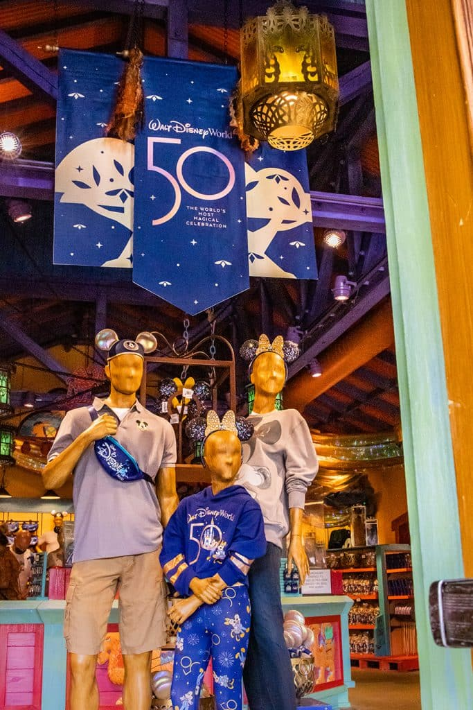 Disney's Animal Kingdom family 50th Celebration merchandise display