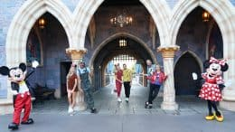 """Mickey Mouse, Lindsay Arnold, Matt James, Amanda Kloots, Alan Bersten, Artem Chigvintsev, Melora Hardin and Minnie Mouse take a photo at Disneyland park before """"Dancing With the Stars"""" Disney Week"""