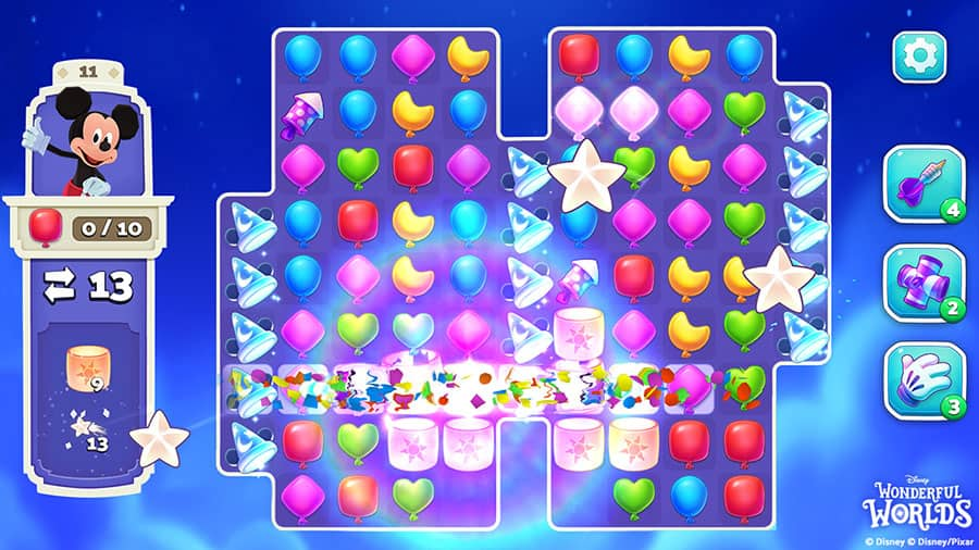 colorful Match-3 game featured in Disney Wonderful Worlds game
